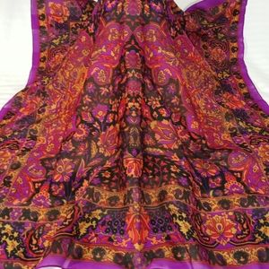Vintage Sheer Scarf Bordered Rich Colored Floral